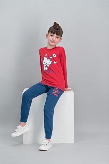 Hello Kitty Hello Kitty Lisanslı Açık Pembe Kız Çocuk Pijama Takımı Kırmızı